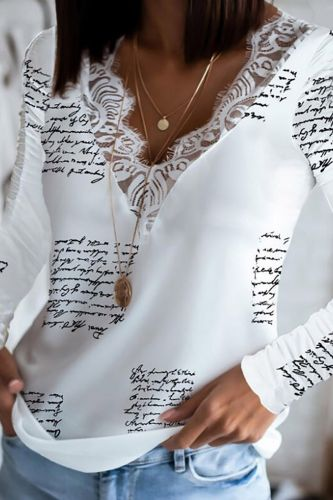 40#Woman Shirts Tops Women 2021 Winter Splicing Fashion Lace V-Neck Lace Letter Print Long Sleeve Blouses Camisetas Mujer