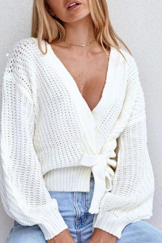 Cardigans Women White Long Sleeve V Neck Knitted Tops Female Street Wear Casual Lantern Sleeve Bandage Cardigan