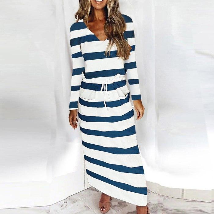 Long Dress Women's V-neck Loose Striped Print Long Sleeve Pockets Casual Maxi Dress Plus Size Elegant Women's Party Dresses