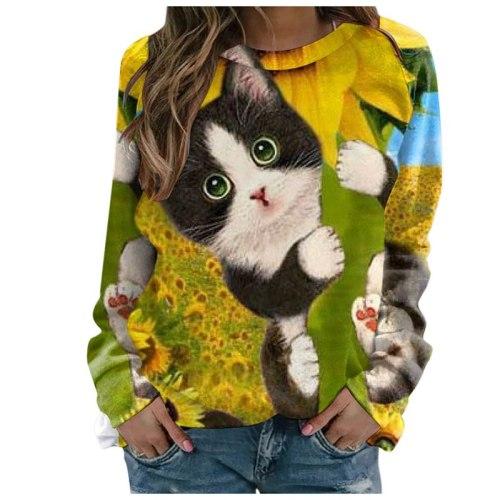 Autumn Women's 3D Cute  Digital Print Top Round Neck Vintage Tees Casual Shirt Clothing Female Streewear