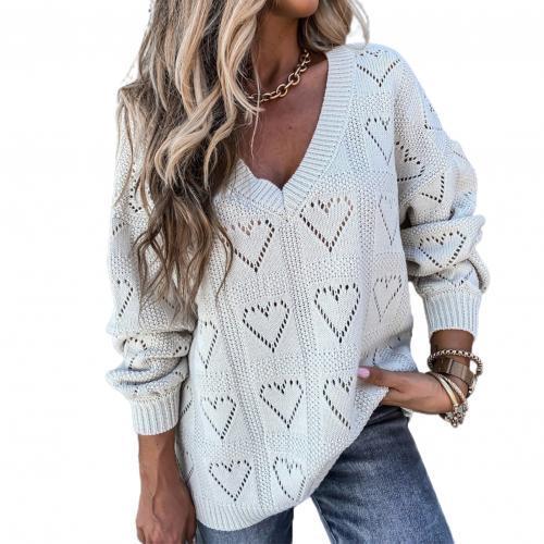 Women Autumn Winter Love Heart Hollow Crochet Sweater Loose Knitwear  Women's Clothing Sweater