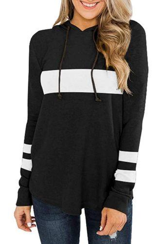 Fashion Women's Hoodie Patchwork Casual Sweatshirt Sports Long Sleeve Hoodies Tops Striped Hooded Sweatshirts Women