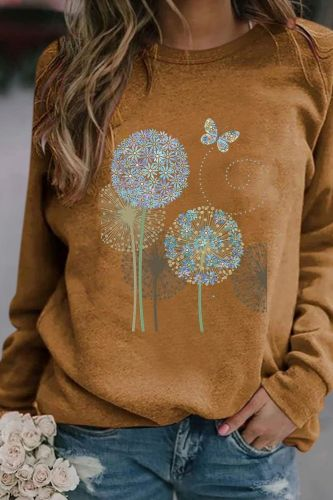 Casual Long-sleeved Women's Pullovers women's clothing autumn 2021 simple style Dandelion print Round Neck fashion Hoodies