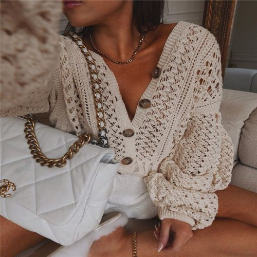Women V-neck Hollow Out Knit Sweaters Top Ladies Flared  Sleeve Solid Single Breasted Loose Sweater Pullovers Jumpers 2020 New