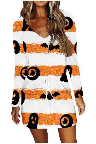 Pumpkin Halloween Women's Dress Striped V-neck Printed Long Sleeve High Waist Dress Long Sleeve Mid Length Princess Dress