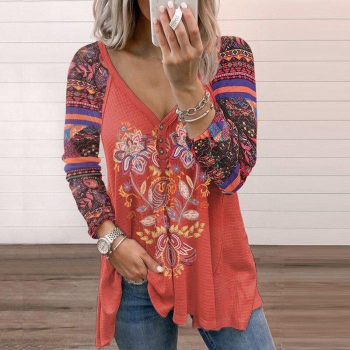 Autumn New Harajuku Street Retro Print Blouse Women Casual Loose Long Sleeve Tops 2021 Lady Spring Elegant V-Neck Button Shirts