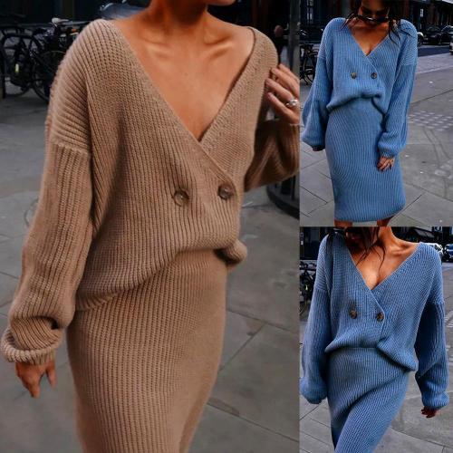 Dress Suits 2021 Women Autumn Winter Outfit Long Sleeve Knitted  vestidos For Women Sweater Skirt Two Pieces Dress dress sets