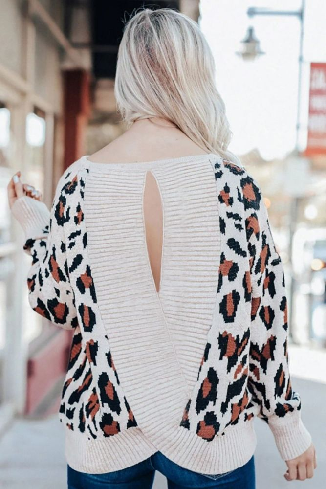 Leopard Sweaters Woman Sexy Backless O-Neck Autumn Winter Knitted Pullover Tops Long Sleeve Fashion Female Street Wear