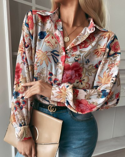 2021 Ladies Summer Casual Fashion Street Sexy Trendy Commuter Printed Single Breasted Long Sleeve Lapel Shirt