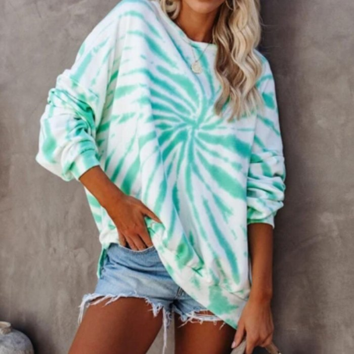 Women Spring Autumn Tie dye Sweatshirt 2021 Fashion Long Sleeve Casual Loose Street OutfitS Hoodies Top S-2XL
