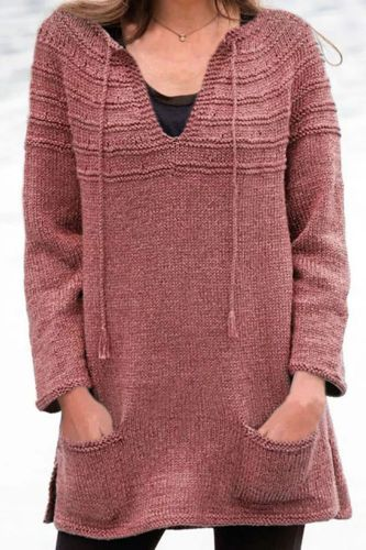 Fashion Ladies Solid Color Long Sleeve Pullovers and Sweaters Women Sexy V Neck Sweater Tops Drawstring Pockets Loose Sweaters