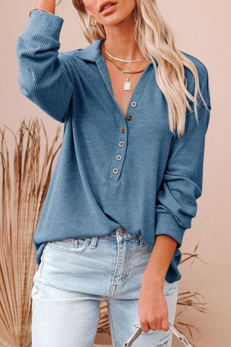 Turn Down Collar Long Sleeves Button Tee Shirts Women Autumn Winter Pullover Casual Solid Tops 2021 Blue Knitted Tshirt