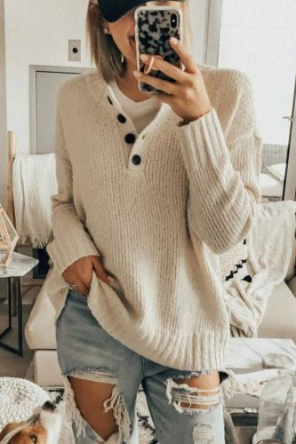 Ladies Sweaters Spring Tops Button V-Neck Long Sleeves Women Clothing Office Lady Sexy Solid Soft Cozy Casual Pullovers Female