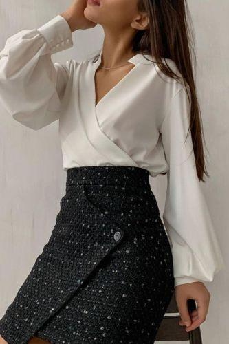 Elegant Office Blouse 2021 Autumn Women Sexy V Neck Long Lantern Sleeve Shirt Solid Casual Irregular Tunic Top Streetwear