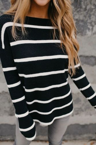 2021 Autumn And Winter Women'S New Solid Color Striped Sweater Top Casual Striped Loose Round Neck Sweater