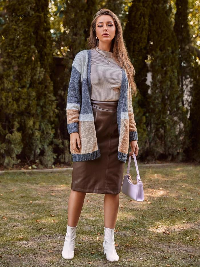 2021 Women's Cardigan Jumper Knitted Sweater Coats Autumn Female Fashion Patchwork Top Spring Long Sleeve Casual Women Outwears