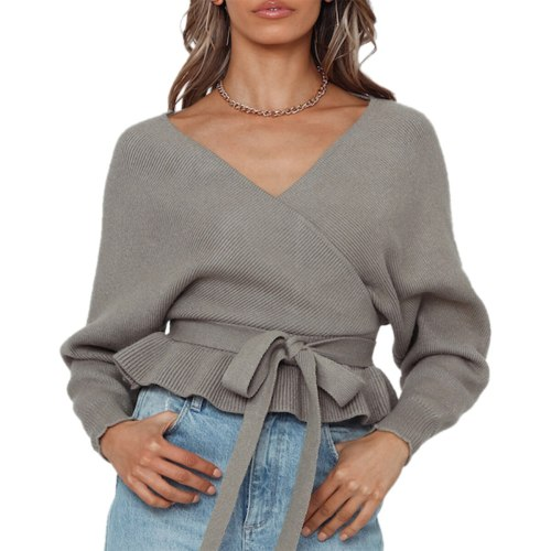 Sweater Women Autumn Winter 2020 Long Sleeve V Neck Lace Up Backless Slim Pullover Elasticity Jumper Loose Tops