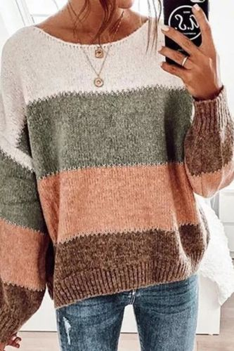 2021 Casual Pullovers Woman Sweaters Autumn Winter Fashion Flare Long Sleeve Patchwork O-Neck Clothes Knitted Sweater Women