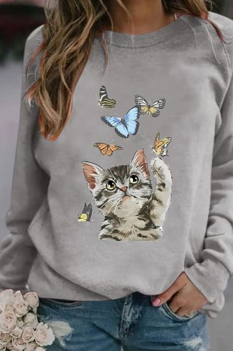 2021 New Cat Butterfly Print Long-sleeved Round Neck Pullover Sweatshirt Fashion Casual Ladies Harajuku  Streetwear
