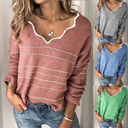 Winter Pink Knitted Sweater Women V-Neck Striped Color Block Sweater Pullovers Long Sleeve Ladies Knitwear Causal Pull Femme