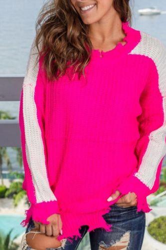 Autumn Winter Sweater Women Color Patchwork Women Clothing Ladies Long Sleeve Jumper Knitwear Pullover Women's Sweaters