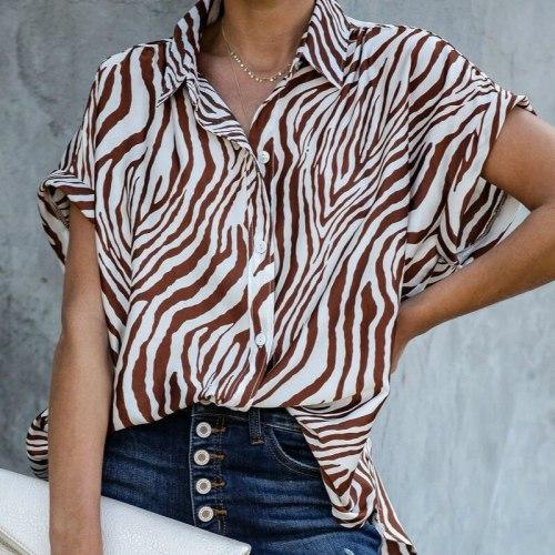 Women Blouses & Shirts Short Sleeve Loose Zebra Stripe Shirt Streetwear Fashion Office Tops Loose Lapel Shirts Blusas mujer