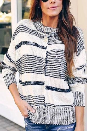 Casual Stripe Sweater Pullovers Women Plus Size Long Sleeve Knitted Street Style Oversized Sweater Warm Jumpers 2021 Basic Tops