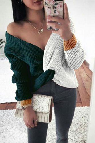 Spring Off Shoulder V-neck Knit Sweater Women Elegant Twist Pleated Irregular Top Pullover Autumn Long Sleeve Patchwork Sweaters