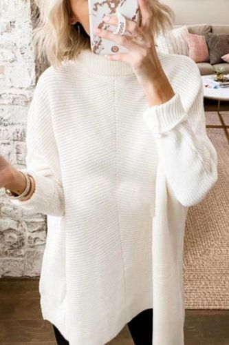 Autumn Turtleneck Women's Sweater England Style Lady Long Pullover Sweaters Bat Sleeves Knit Female Jumper Loose Streetwear