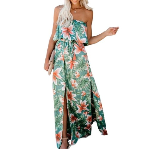 Women Dresses Summer Floral Print Maxi Dresses Off Shoulder Sleeveless Split Beach Boho Sundress Robe Ruffle Backless Vestidos