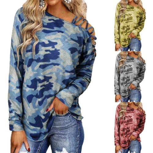 Autumn and winter fashion street photography camouflage printing shoulder strap cross Neck Long Sleeve T-Shirt women