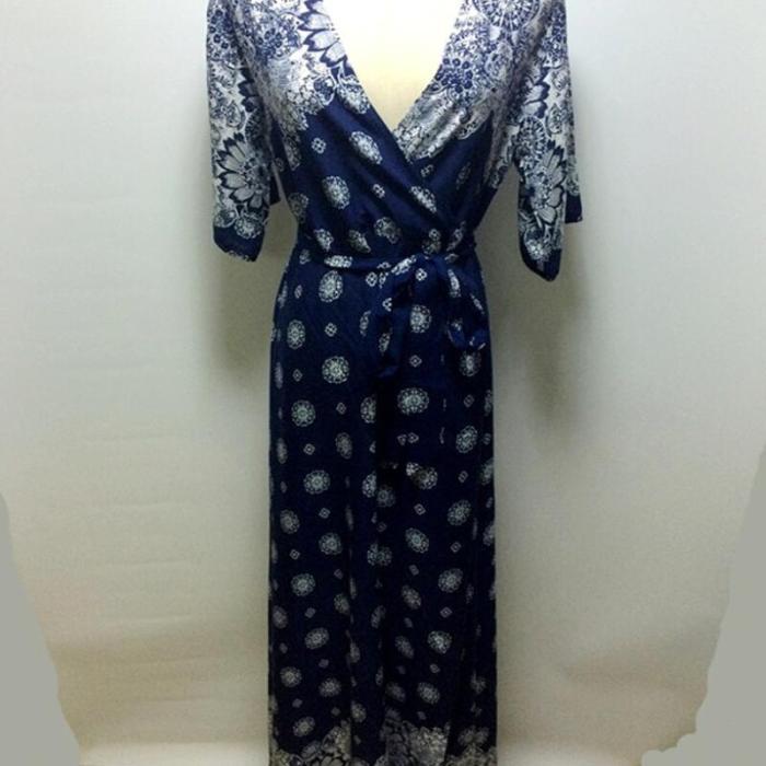 Summer Women Vintage Floral Printed Long Dress Sexy V-Neck Belt Short Sleeve Ruffles Sundress Casual Boho Beach Dresses Vestidos