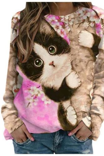 Women's Long Sleeve Sweatshirt Fall and Winter New Ladies' Loose Fashion Printed Cat Top