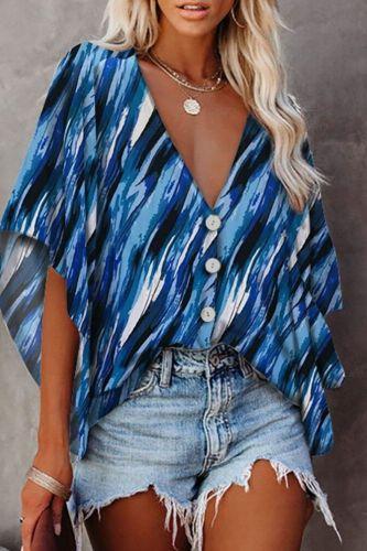2021 Women V Neck Blouses Fashion Button Half Sleeve Blouses Ladies Shirt Floral Printed Fashion Vintage Women's Shirt
