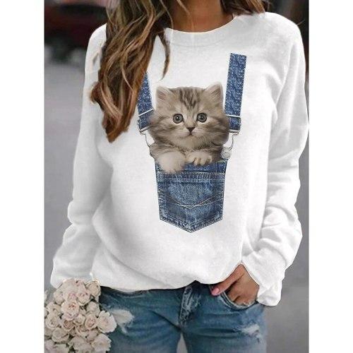 Hoodies Sweatshirt Women 2021 Spring Casual Animal Print Loose Pullover Sweatshirts Female Vintage Oversized Tops harajuku bts