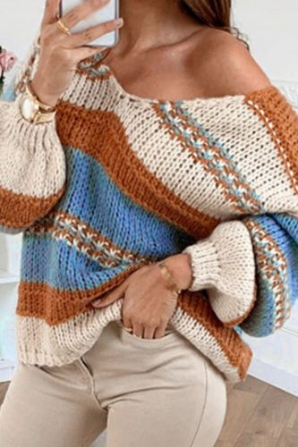 Striped Patchwork Vintage Jumper Knitwear Casual Slim V Neck Autumn Knitted Tops Sweater Pullover Women Clothes Pull