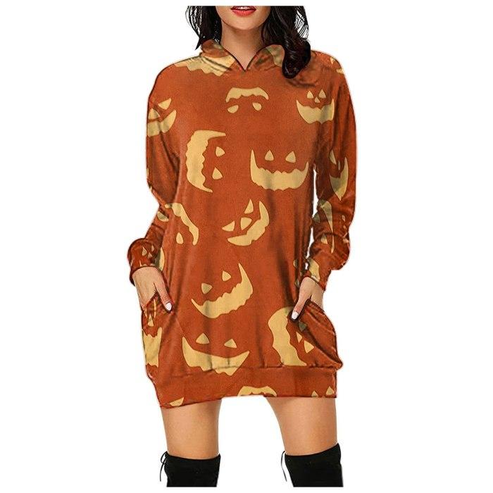 Fashion Women's Halloween Casual Loose Mid Length Hooded Women's Sweatshirt Retro embroidered sweatshirt harajuku 2021