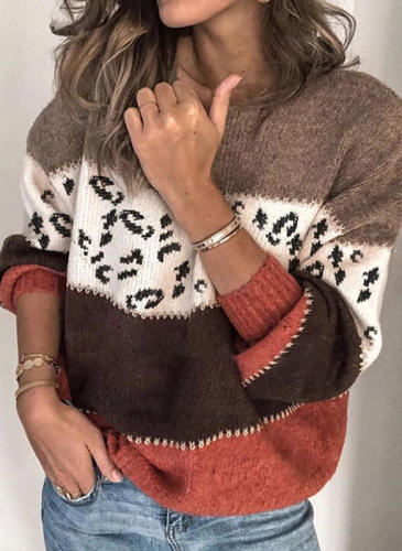 Plus Size Womens Sweaters Loose Autumn Winter Leopard Sweater Women Pullover High Quality Knitted Oversized Sweater Jumper