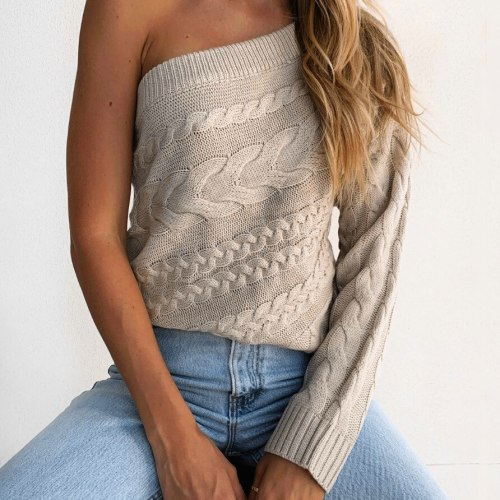 Women Sweaters One Shoulder Autumn Sweaters Long Sleeves Casual Warm Pullover Knitted Tops Women Clothing Womens Sweaters