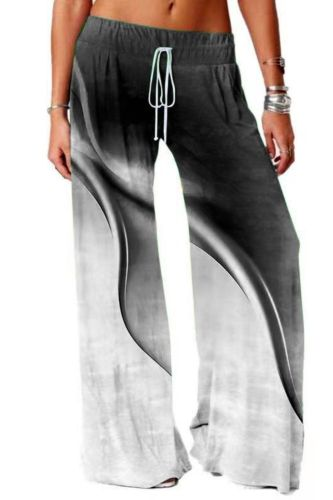 Women Fashion Yoga Sports Pants Casual Gradient Wide-leg Pants Floor Length Soft Printed Trousers for Outdoor