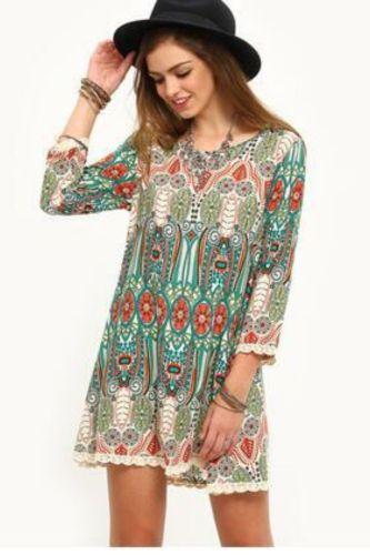Women's Dress Spring Autumn Long Sleeve Dress Fashion Bohemian Ethnic Style Print Backless Chiffon Mini Dress Plus Size S-3XL