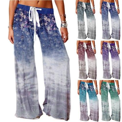 2021 Summer Women's New Korean Girl Casual Pants Yoga Sports Pants Outdoor Casual Printed Wide Leg Pants Streetwear Women 3XL