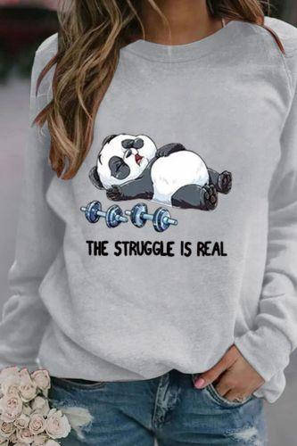 Womens Panda Print Long Sleeve Hoodie Sweatshirt Brand New 2021 Ladies Slim Pullover Jumper Tops Concise High-end Tees Autumn
