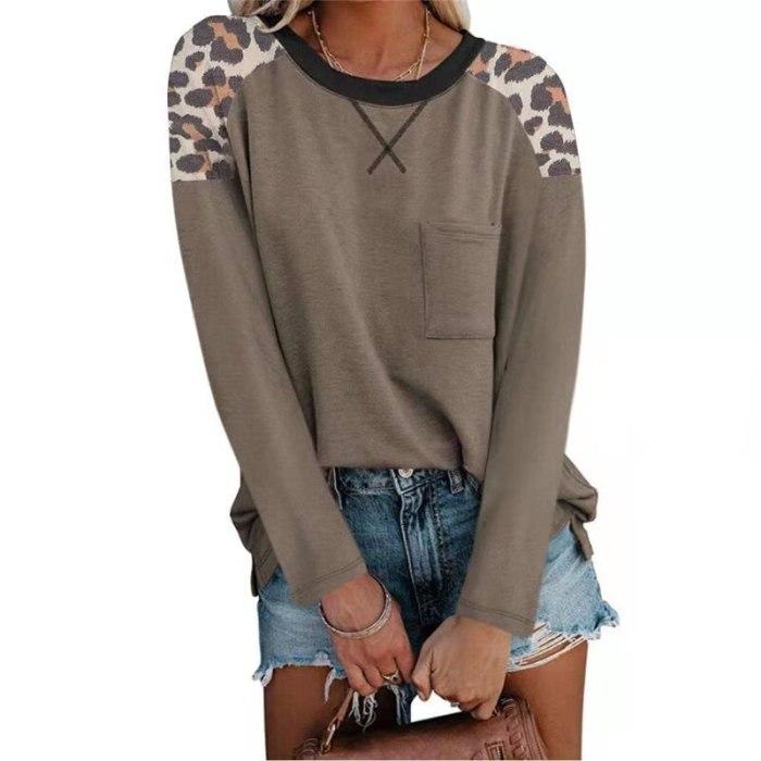 Loepard Print Patchwork Tops Women 2021 New Autumn Clothes Long Sleeve Basic Tee Shirt Femme Casual Streetwear Plus Size T-shirt