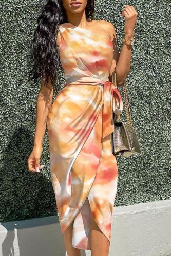 Sexy Casual Slit Dress One Shoulder Ruched Design Party Dress  New Spring Summer Belt Ruched Sleeveless Elegant Solid Dress
