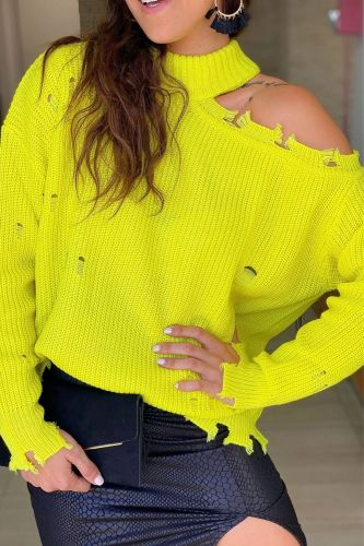 Woman Off Shoulder Sweaters Autumn Winter Solid Yellow Turtle Neck Sexy Hollow Out Female Loose Pullover Tops Street Wear