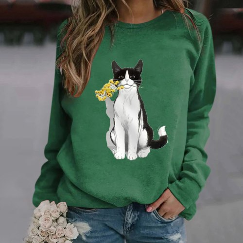 Kawaii Animal Cat Printed Blouse Women Clothing Casual Round Neck Long Sleeve Blouse Autumn Plus Size Shirts Tops Блузки
