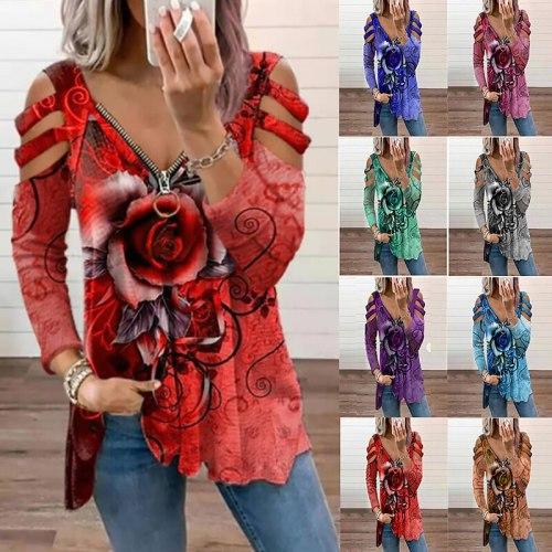 Autumn Fashion Rose Printing Zipper V Neck Hollow Shoulder T-shirts Sexy Women Long Sleeve Top Shirt Casual Female Daily Wear