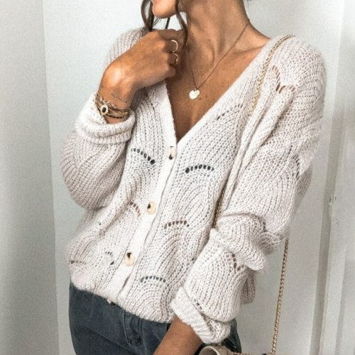 Cropped Cardigan 2021 Fall New Sexy V-neck Hollow Knit Sweater Top Solid Color Loose Cardigan Sweater Jacket Casual Home Clothes