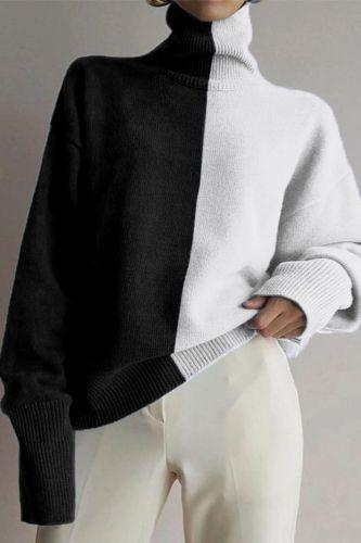 Turtleneck Black White Colorblock Vintage Design Knit Sweater Women Long Sleeve Plus Size Japanese Fashion Tops Winter Pullover